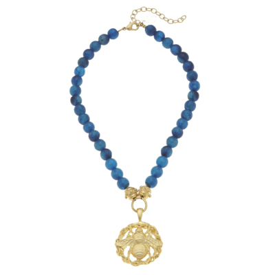 Bee  Cut Out Charm Peacock Blue Agate