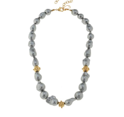 Gold Bead and Grey Freshwater Baroque Pearl Necklace