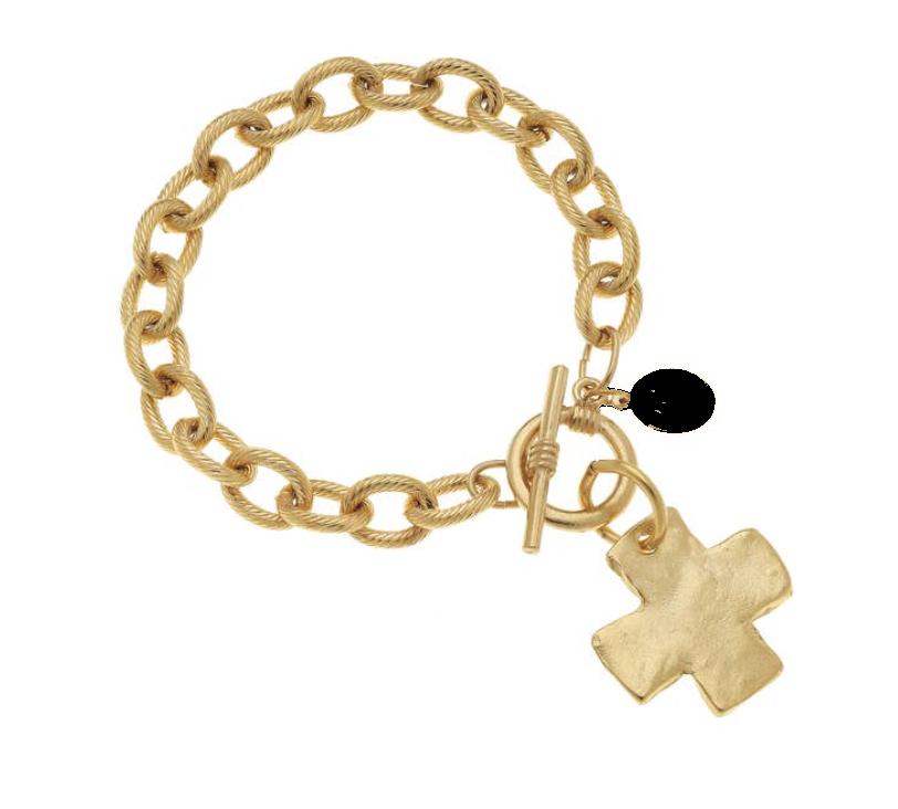 Gold Cross Toggle Bracelet