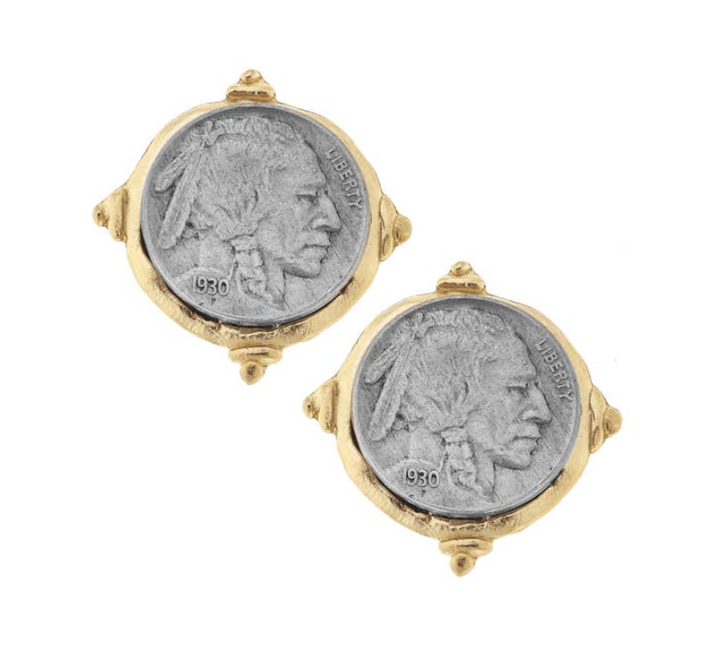 Gold and Silver Vintage Indian Head Coin Clip Earrings