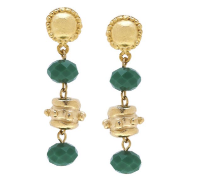 Gold Bead and Green Crystal Earrings