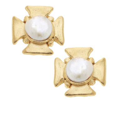 Gold Cross/ Genuine Freshwater Pearl Earrings