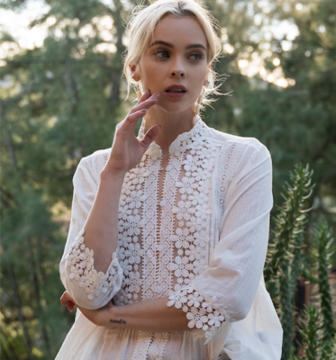 Eyelet Trim Cotton Top