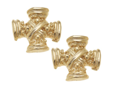 Gold Vintage Square French Cross Earrings