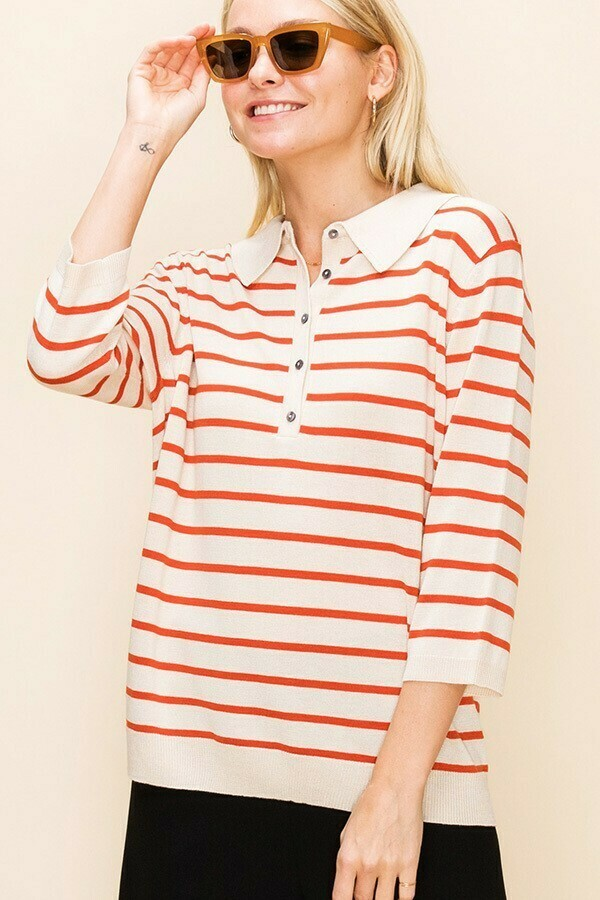 Red Striped Polo Top