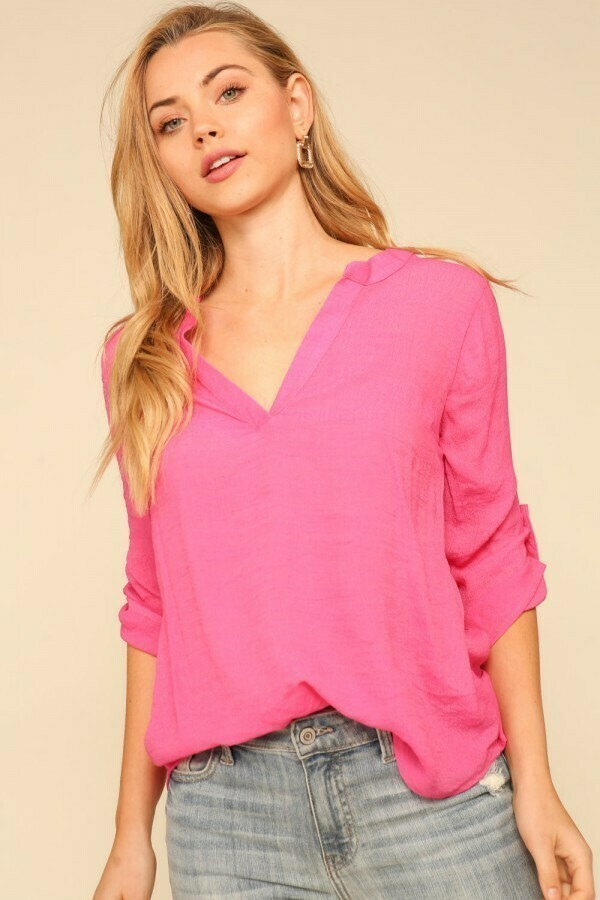 Crepe Roll Up Sleeve Top