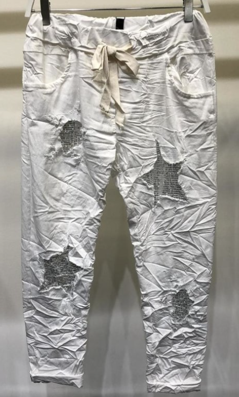 Sequin Star Patch Crinkle Jogger Pant