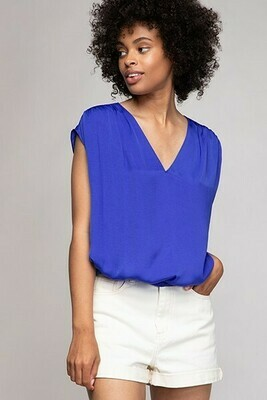 Ruched Capri Blue  Top