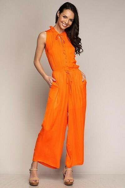 Button Down Tangerine Jumpsuit