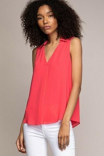Collard Watermelon Colour Sleeveless top
