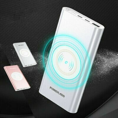 Poweradd Qi Wireless Power Bank 10000mAh Portable Charger USB External Battery