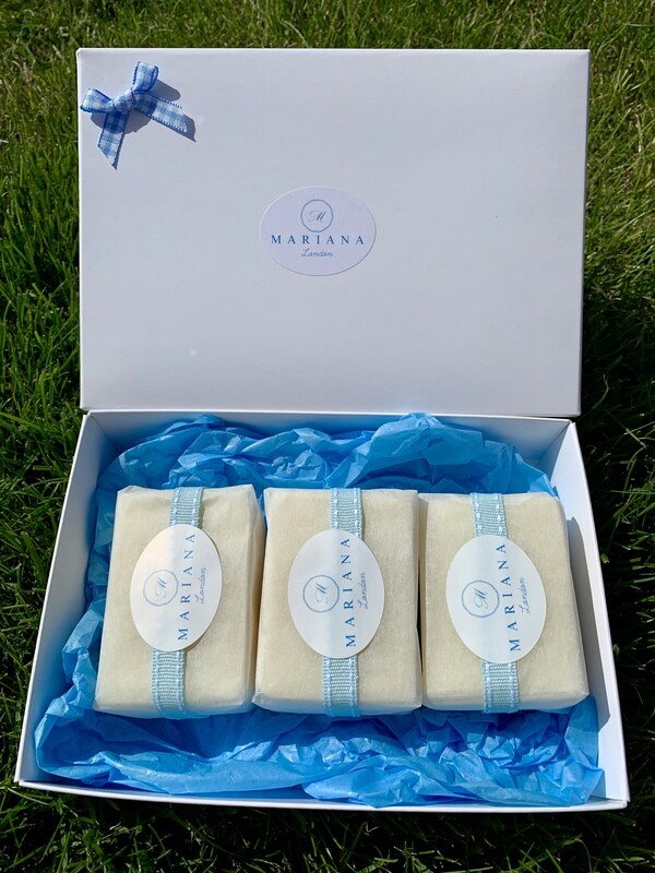 Three Lavender and May Chang 60g soaps in a gift box
