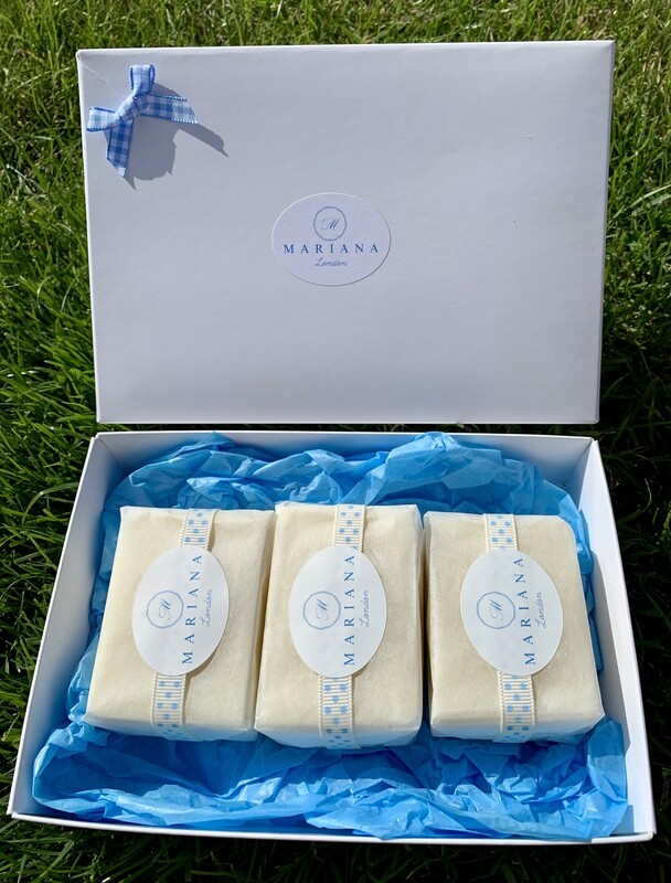 Three Lemongrass and Peppermint 60g soaps in a gift box