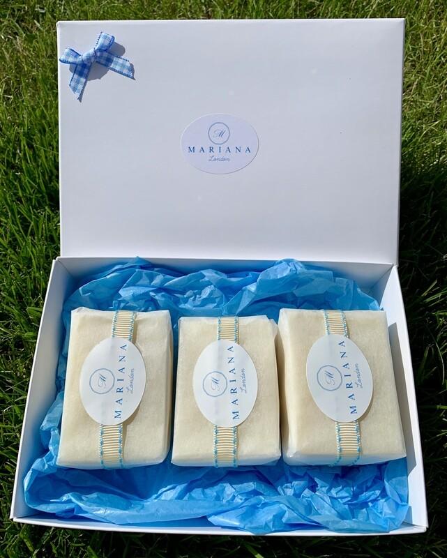 Three Rose Geranium and Bergamot 60g soaps in a gift box