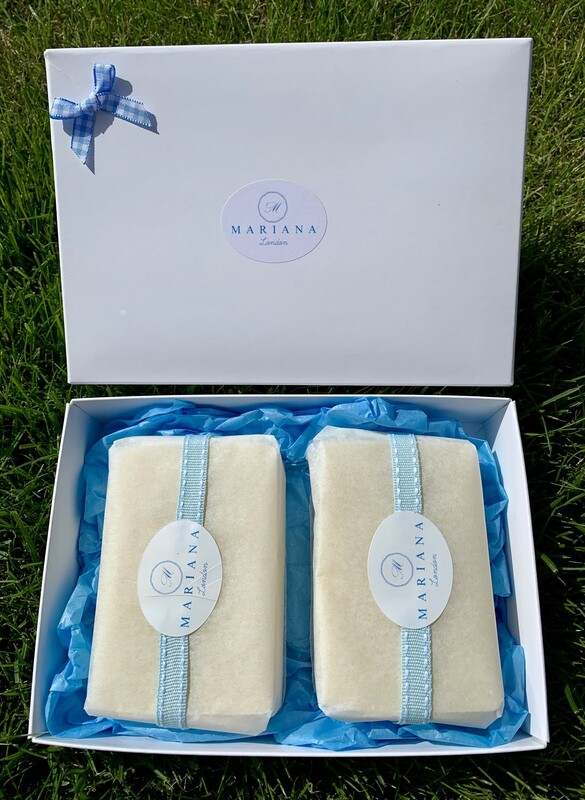 Two Lavender and May Chang 110g soaps in a gift box