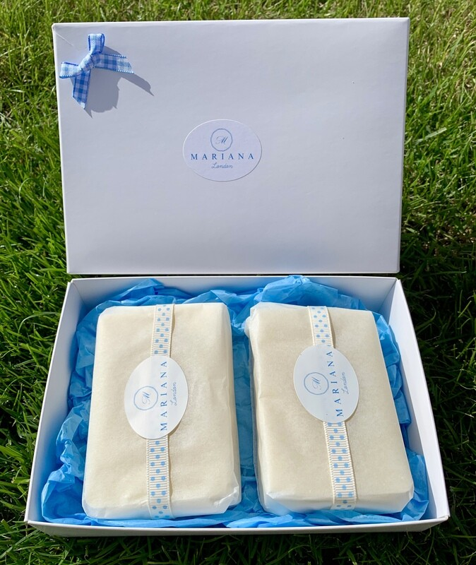 Two Lemongrass and Peppermint 110g soaps in a gift box