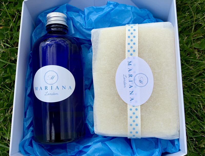 Lemongrass and Peppermint Bath Oil and 110g Soap in a White Magnetic Gift Box