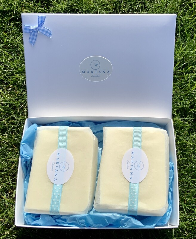 Two Sweet Orange and Patchouli 110g soaps in a gift box