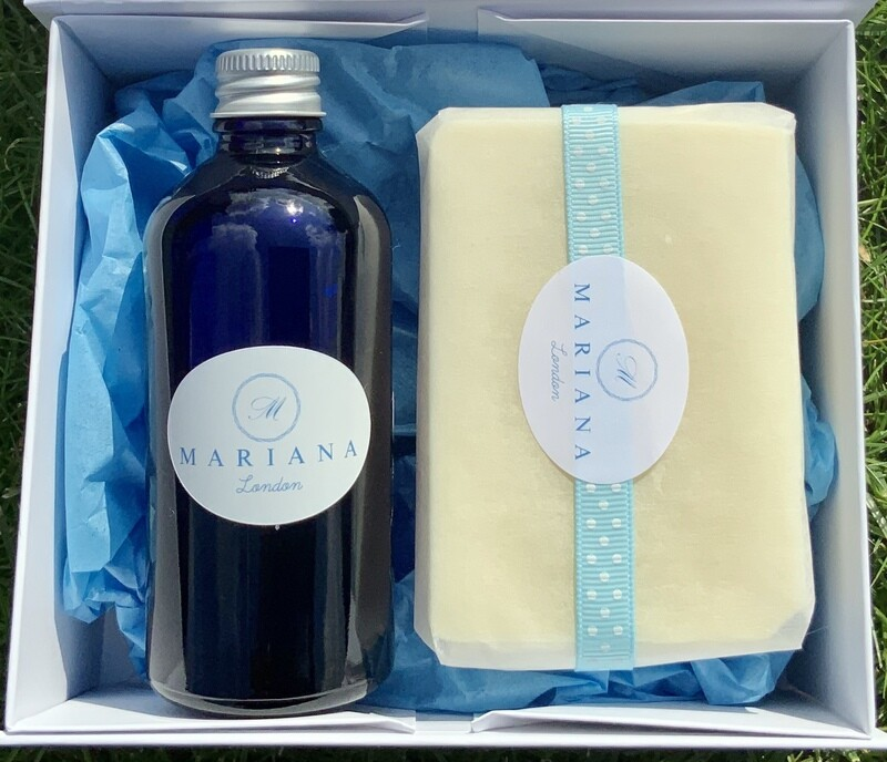 Sweet Orange and Patchouli Bath Oil and 110g Soap in a White Magnetic Gift Box