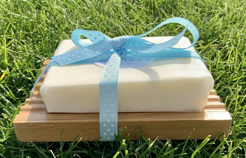 Sweet Orange and Patchouli 110g soap with Bamboo Wood soap dish