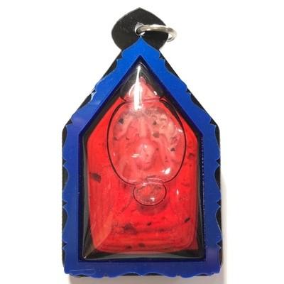 Khun Phaen Paya Tae Krua in Nam Man Prai Roi Choo Kama Sutra Love & Mercy Charm Amulet Blue Frame Ajarn Prodt