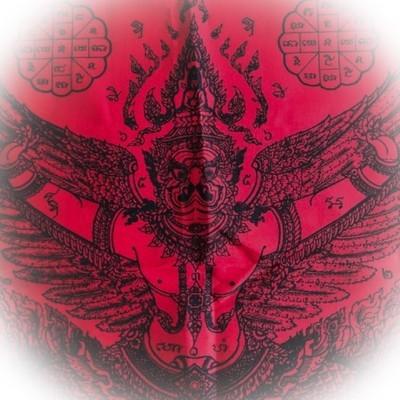 Pha Yant Paya Krut Paya Suban Bandan Sap Red 40 x 25 Inches LP Glom Wat Koke U-Tong