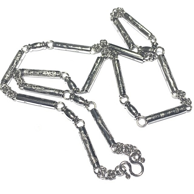Stainless Steel Neck Chain for Amulets medium gauge with  Pra Sivali Arahant and Khom spells 1 single amulet attachment 25 Inches