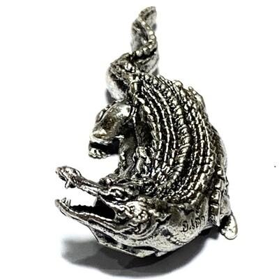Paya Gumpir Sethee Bunyarit Nuea Ngern Boran Khad Ya Dam Solid Silver Crocodile Amulet 2561 BE Pra Ajarn Dtao Only 199 Made