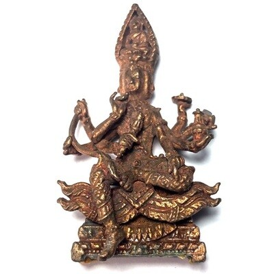 Pra Prohm See Hnaa (4 Faced 8 armed Brahma) Loi Ongk statuette - Nuea Nava Loha (9 Sacred Metals + sacred powders in base) 4 x 2.5 Cm - Luang Phu Bua Gaew Kong - Wat Tap Luang 2554 BE