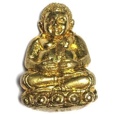 Pra Sangkajjai Wealthy Buddha - Nuea Tong Rakang - Run Gathin Jao Sua 2554 BE - Por Tan Prohm - Wat Palanupap 2 x 2.7 Cm - Free Casing + Shipping Included #122