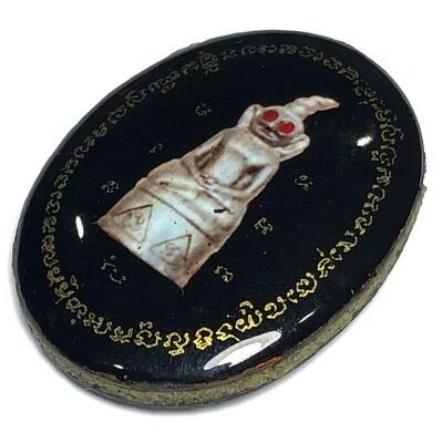 Locket 2 Hnaa (double faced Locket) Ngang Maha Sanaeh Chak dam (black cover) - Ajarn Perm Prai Dam
