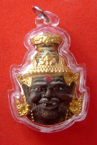 Phu Ruesi Ta Fai Kroo Deity mask - Nuea Samrit (Bronze) with sacred powders, (Nam Rerk) 3 Takrut and Tiger Yant - Luang Phu Naen Kampiro - casing included