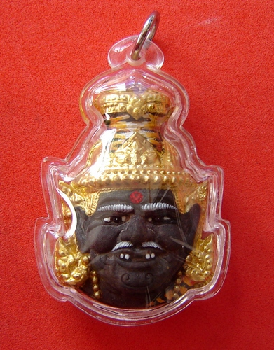 Phu Ruesi Ta Fai Kroo Deity mask - Nuea Pong Bai Lan Paint See (hand painted sacred black parchment powder) Nam Rerk 3 Takrut and Tiger Yant - Luang Phu Naen Kampiro - casing included