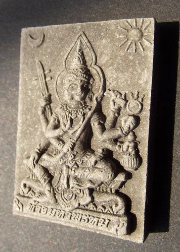 Pra Prohm (Brahma) - Nuea Wan Maha Sethee with silver Takrut and 5 Prataat inserts (sacred relics) - wealth amulet - Luang Por Bun Gerd - Wat Khao Din - Waterproof Casing Included