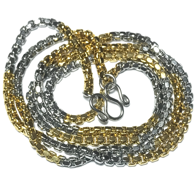 Two Tone Gold + Chrome Plated Stainless Steel Neck Chain for 1 Amulet - Medium Gauge Cubic Chain Links + Closure Ring 23 Inches