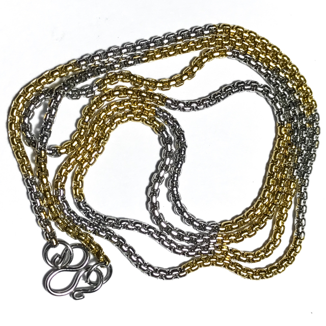Two Tone Gold + Chrome Plated Stainless Steel Ladies Neck Chain - Extra Thin Gauge Cubic Links  for 1 Amulet 23 Inches