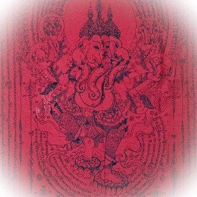 Pha Yant Pra Pikanes Maha Taep Prata Kwam Samrej Giant Ganesha Yantra Cloth 44 x 23 Inches - Luang Por Fern Wat Sai