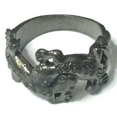 Hwaen Jing Jok Koo Maha Sanaeh 1.8 Cm Diameter Mating Geckos Magic Ring - Ajarn Supot Na Ler Cha