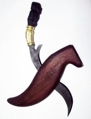 Mitmor Daam Hanuman - Ritual Thai Keris Knife - Black Holy Tree wood Hilt with hand carved Hanuman, Blade Inscriptions & Wooden Sheath 9 Inches - Luang Por Prohm