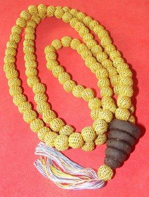 Prakam Saksit Ya Wasana Jinda Manee Tak Hmai - 108 bead Buddhist Rosary from Ya Wasana Jinda Manee, with golden silk hand stitching - Luang Phu Juea Bpiyasilo - Wat Klang Bang Kaew 2547 BE