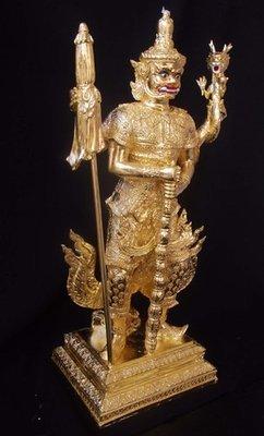 Taw Waes Suwan Tri Plab Pela (Three Legged Asura King of Wealth) - 19 Inch High Bucha Statue - Sacred Bronze 24 K Gold Leaf  - Wat Na Pra Meru Blessed by Pra Ajarn Ord & 96 Guru Monks - Only 59 Made