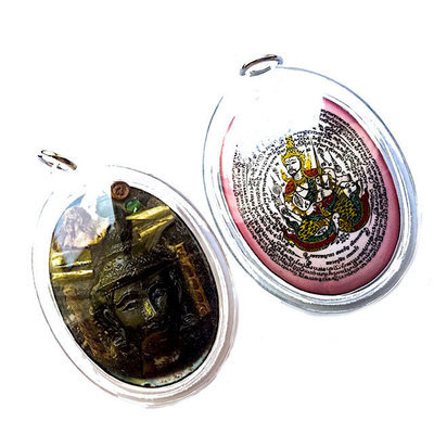 Tewada Long Hong (Paetch Payatorn) - Pink Face Jumbo Locket- 1 Rak Sorn Flower, 1 Deva, 1 Black Pearl 6 Takrut - Nia Kajia Maha Sanaeh 2554 BE edition - Luang Phu In