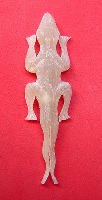 Jing Jok Sorng Hang Nam Choke (albino buffalo horn) - 2 tailed Gecko charm  for riches and luck - LP Rit