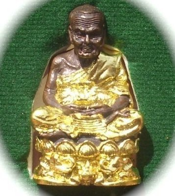 Pra Luang Por Tuad Loi Ongk Banju Kring (Pra Kring) - Sacred Metal with Gilded Robes & Dais - Run Por Tan Khiaw Upbathamp '54 - Wat Huay Ngo