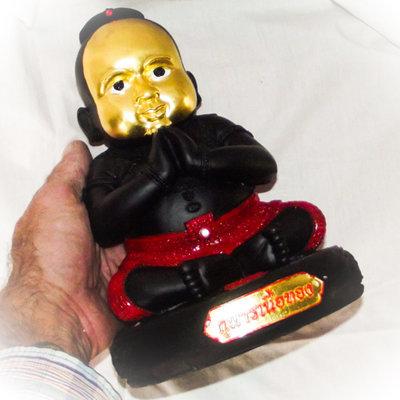 Kumarn Nuea Tong - 5 x 10 Inch Bucha Statue - Gold Leaf Face - Bantian Mian Jia Maha Sanaeh Edition - Luang Phu In