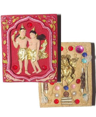 Taewada Hlong Hong (Paetch Payatorn Kinaree) Ongk Kroo Paint See (red hand painted) 20 gems 2 pearls, look namo, 7 Takrut + Butterfly Deva - Nia Kajia Edition 2554 BE - Luang Phu In Wat Nong Meg