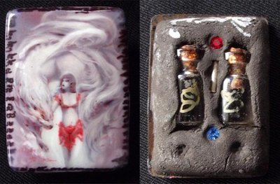 Nang Jing Jork Gao Hang 9 Tailed Fox Tail Lady Ghost Locket with Super Concentrated Prai Powders and double Prai Oil flasks with gemstones in rear face - Takrut spell insert - Kroo Ba Beng