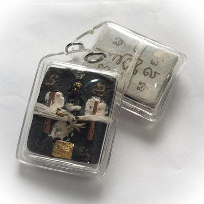 Kumarn Tong Jao Sanaeh (Loi Ongk) - Kumarn with Prai Powders, Corpse Cloth, Sinjana cords + Hand Inscription - Ajarn Apichai Decha
