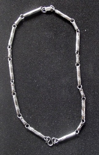 Stainless Steel Neck Chain for One Amulet (more possible) - Thick Gague with Lai Thai Granok Flame Pattern - 20 Inches Long