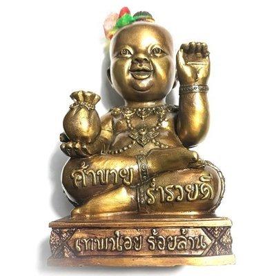 Kumarn Tong Taep Noi Roi Lan Edition 5.5 Inch High Bucha Statue 2559 BE Nuea Samrit 3 Takrut + Pong Ya Faed + Look Om - Kroo Ba Or Bandita